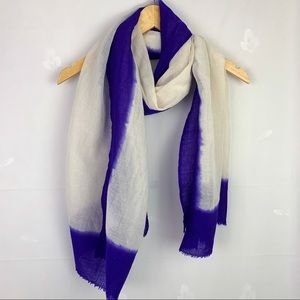 Wool And Silk Purple And Ivory Oblong Scarf